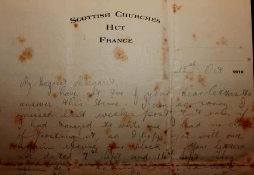 A letter sent in the midst of the Battle of the Somme, 15 October 1916.