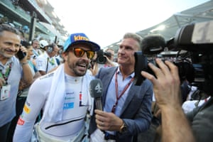McLaren's Fernando Alonso is interviewed by David Coulthard