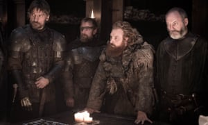 Liam Cunningham, far right, who plays Davos Seaworth, in a scene from Game of Thrones.