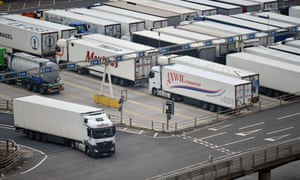 Lorries queueing at the Port of Dover