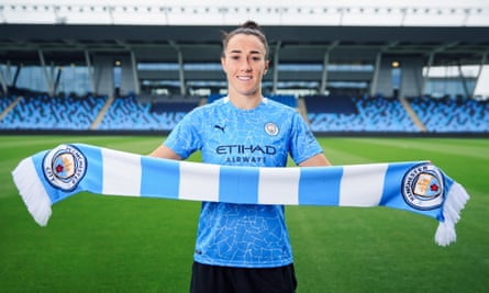 Manchester City Women's latest signing Lucy Bronze is unveiled at Manchester City Football Academy on Tuesday.