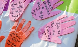 Messages of love and support outside a care home in Powys.