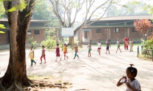 Off to school: children are attending the morning assembly before starting their daily activities.