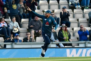 Jonny Bairstow of England celebrates taking the catch to dismiss Haris Sohail of Pakistan off the bowling of Liam Plunkett.