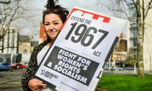 A Belfast demonstrator states the case for Northern Ireland women. Photograph: Stephen Barnes/Alamy