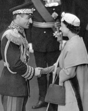 The Queen greets Mohammad Reza Shah Pahlavi, Shah of Iran, in London, 1959