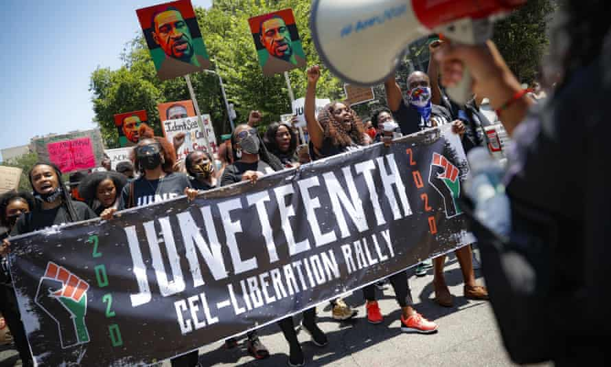 People march in a Juneteenth rally last year in Brooklyn, New York.