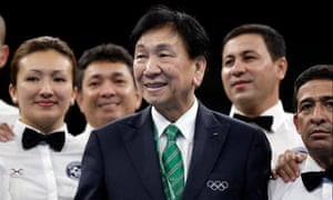 The Aiba president CK Wu, centre, who is also an International Olympic Committee executive board member.
