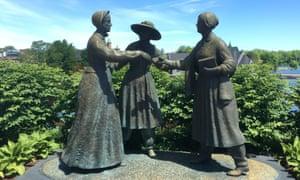 Statue of Elizabeth Cady Stanton meeting Susan B Anthony in Seneca Falls.