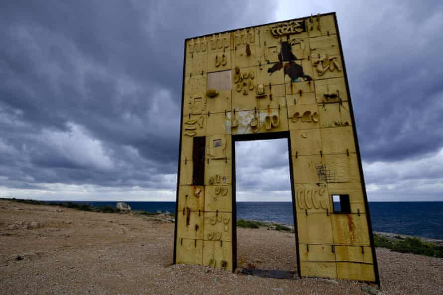 Door of Europe, a monument dedicated to migrants on Lampedusa, Siciily, by the Italian artist Mimmo Paladino.