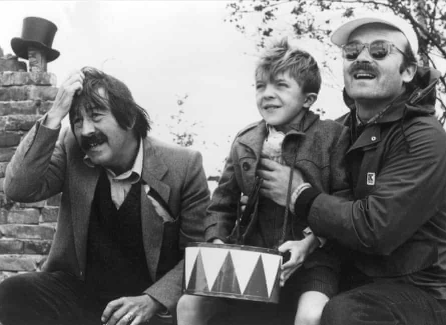 Günter Grass, David Bennent and Volker Schlöndorff during shooting of the 1979 film adaptation of The Tin Drum.