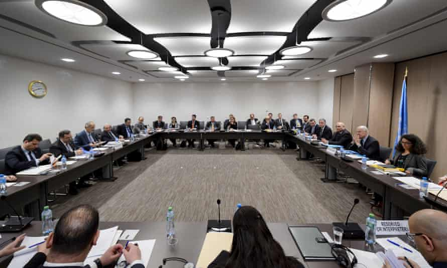 The opening of peace talks on Syria at the United Nations office in Geneva in March.