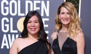 Monica Ramirez with Laura Dern at the 75th Annual Golden Globe Awards