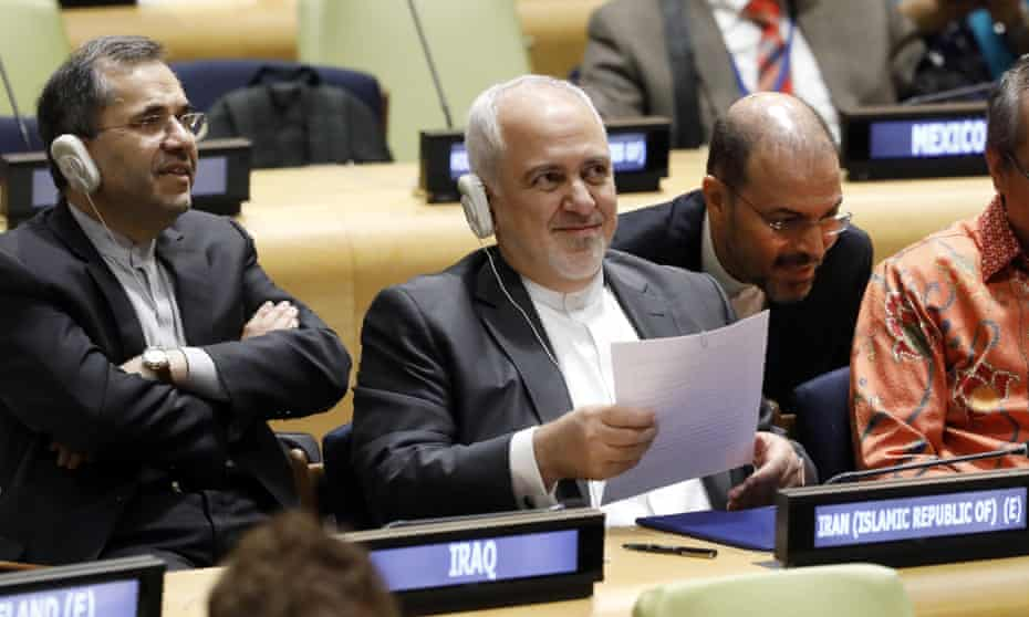 Mohammad Javad Zarif at the UN on Thursday. He said: 'If they [the Trump administration] are putting their money where their mouth is, they are going to do it.'