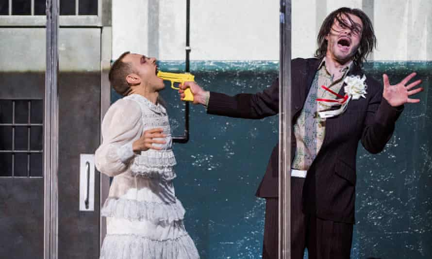 Pascal Charbonneau as Aljeja and Ladislav Elgr as Skuratov in From The House of The Dead in a new staging by Krzysztof Warlikowski at the Royal Opera House