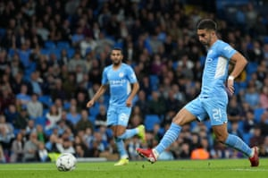 Ferran Torres of Manchester City scores.
