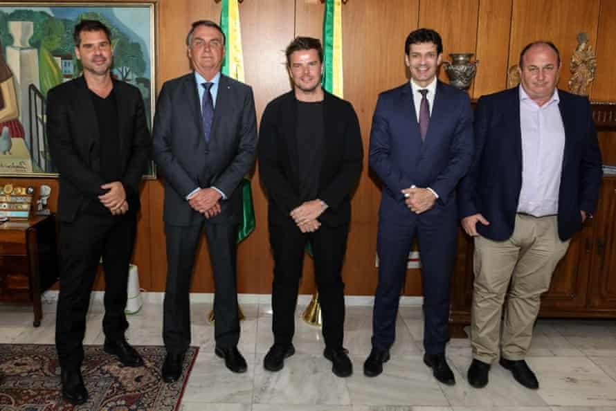 And that's me with the homophobic, climate-crisis denying president … Bjarke Ingels, centre, meets Brazil's Jair Bolsonaro, second left.