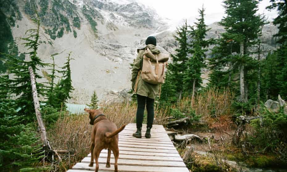 Hiking with a friend and my dog up at Joffre Lakes