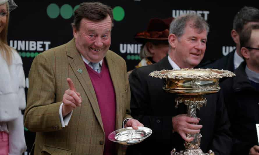 Nicky Henderson at the presentation ceremony after victory with Epatante in the the Champion Hurdle.