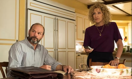 Chris Bauer as Tim Rutten, Edie Falco as Leslie Abramson in Law and Order True Crime: The Menendez Murders