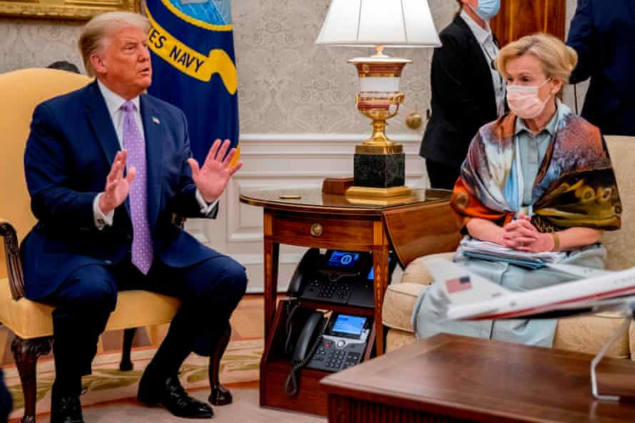 Birx with Trump at a Covid briefing on Wednesday.