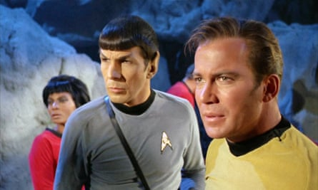 Nichelle Nichols as Uhura, Leonard Nimoy as Spock and William Shatner as Kirk in the original series of Star Trek.