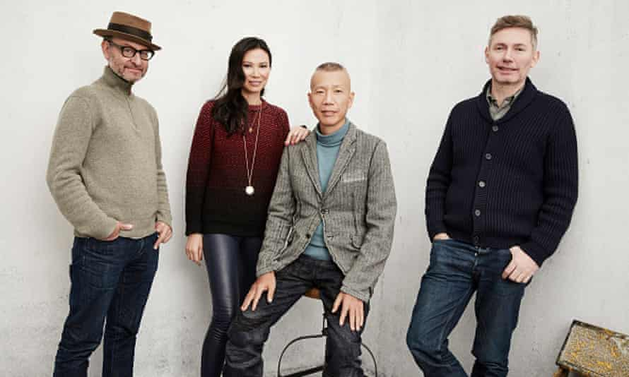 The team behind Sky Ladder: Murdoch with Fisher Stevens, Cai Guo-Qiang and Kevin Macdonald