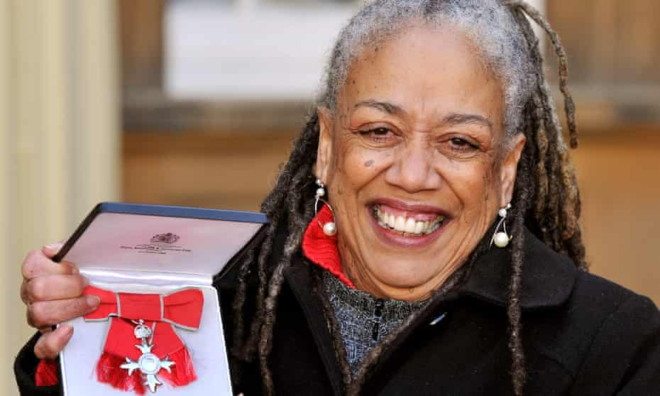 Jean 'Binta' Breeze the Jamaican Poet proudly holds her MBE.