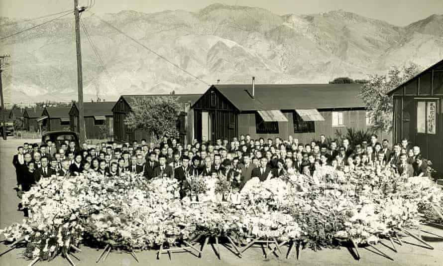 A 1945 photo provided by the Matsumura family via the National Park Service shows a memorial service for Giichi Matsumura.