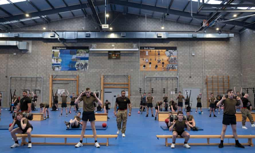 Junior soldiers at the Army Foundation College in the gym