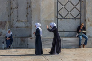 Category: Street. Title: The Dome of the Rock, Jerusalem, Israel. Muslim women at the Dome of the Rock, on the Temple Mount in the Old City of Jerusalem, Israel