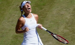 Angelique Kerber yells with relief after her victory.