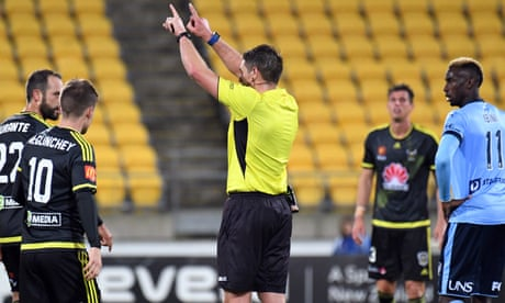 World first as video assistant referee called into action in Wellington and Sydney FC stalemate