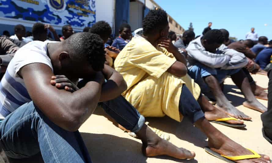 Migrants at a Libyan detention centre.