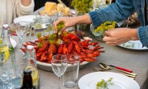 Large bowl of crayfish