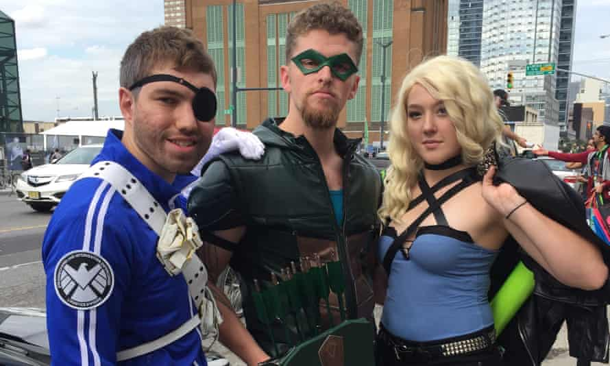 Comic Con attendees Nick Greer as Nick Fury, Jeffrey Strader as Green Arrow and Sydney Roper as Black Canary, all came to New York from Connecticut.