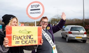 Protesters outside Cuadrilla's shale gas fracking site at Little Plumpton, Lancashire