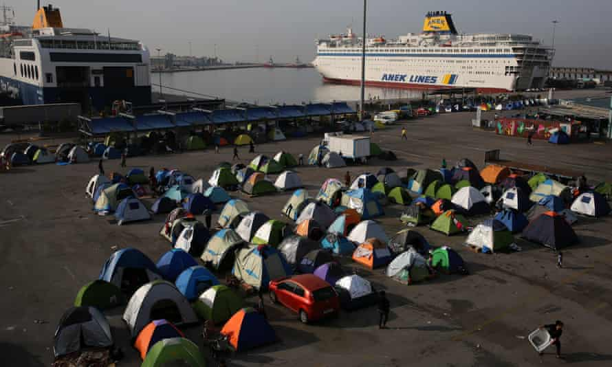 A makeshift camp for refugees in the port of Piraeus, near Athens.