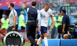 Harry Kane is congratulated by England manager Gareth Southgate as he comes off after scoring a hat-trick against Panama.