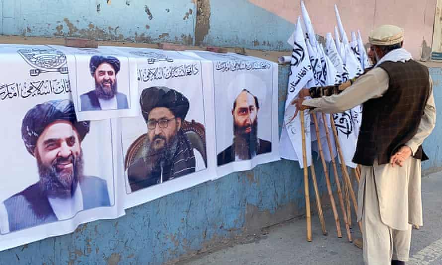 Portraits of the Taliban leader, Mullah Haibatullah Akhundzada, for sale in Kabul