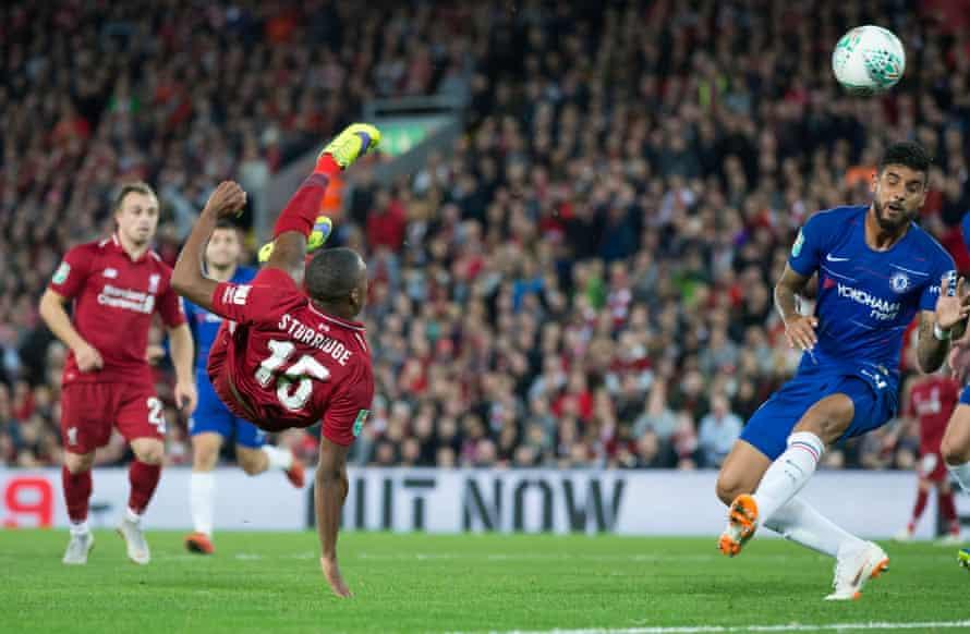 Daniel Sturridge puts Liverpool ahead with a stunning bicycle kick.