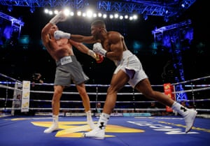 Joshua connects with a right hand in the fourth as the fight starts to get interesting.