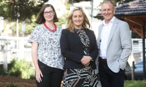 Labor's Balmain candidate Elly Howse, Coogee candidate Marjorie O'Neill and Jay Weatherill, who put South Australia at the forefront of renewable power