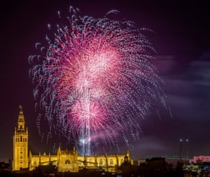 Fireworks over the cathedral in Seville, Spain, mark the end of the Feria de Abril, the spring fair