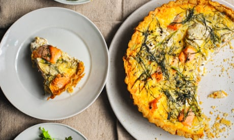Nigel Slater's recipes for salmon and cream cheese tart, and nectarine pastries