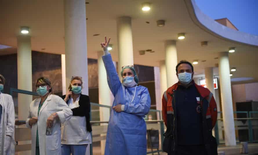 Greek health workers outside a hospital