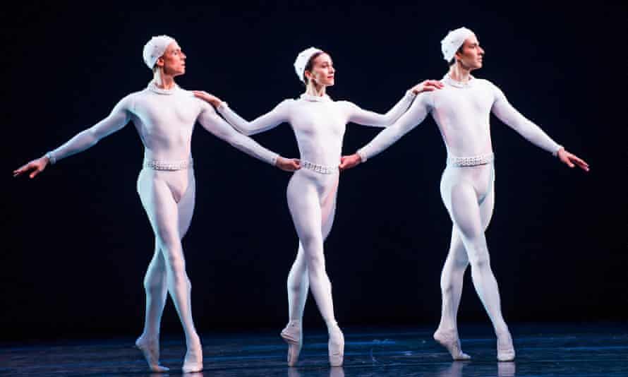 Wonderful harmony and collective beauty … Edward Watson, Marianela Nuñez and Valeri Hristov in Monotones II.