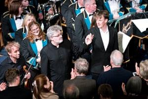 James MacMillan, Ian Bostridge and members of the Dalmellington Band at Cumnock Old Church.