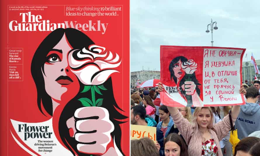 A protester in Minsk carries a poster based on cover art from the Guardian Weekly.