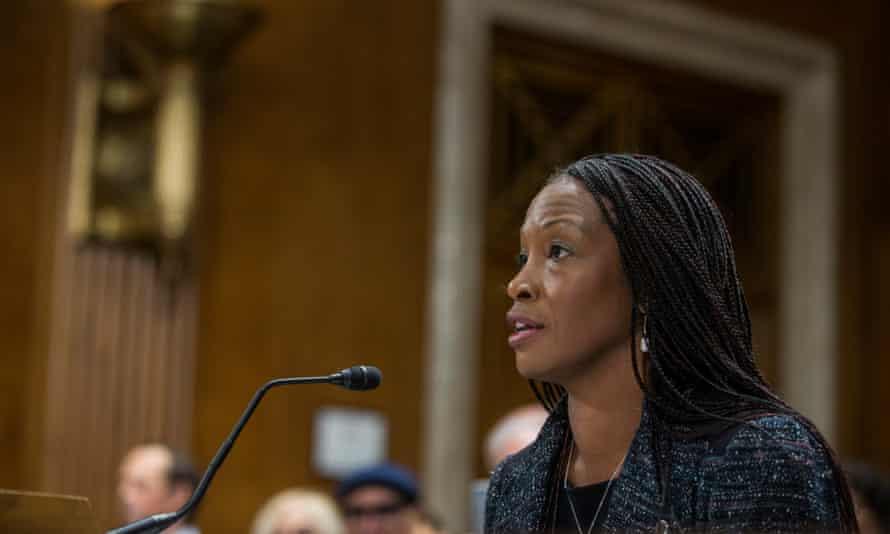 Aurelia Skipwith testifies during a Senate committee confirmation hearing in Washington DC, on 11 September.
